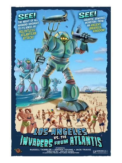 Los Angeles, California - Atlantean Invaders-Lantern Press-Art Print