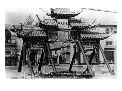 Los Angeles, California - Chinatown; Gate of Maternal Virtue on Broadway-Lantern Press-Art Print