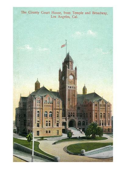 Los Angeles, California - Exterior View of County Court House from Temple and Broadway-Lantern Press-Art Print