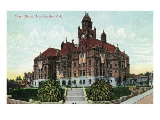 Los Angeles, California - Exterior View of the Court House-Lantern Press-Art Print