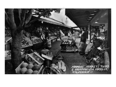 Los Angeles, California - Farmers Market on Third and Fairfax-Lantern Press-Art Print