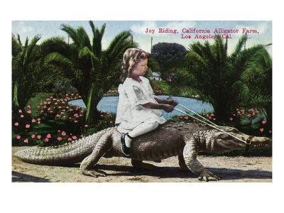 Los Angeles, California - Girl Riding Alligator at the Farm-Lantern Press-Art Print