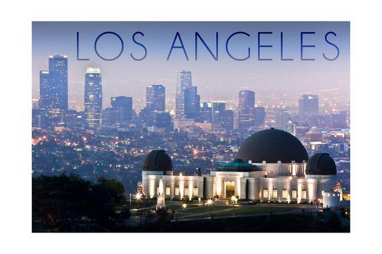Los Angeles, California - Griffith Observatory and Skyline-Lantern Press-Art Print