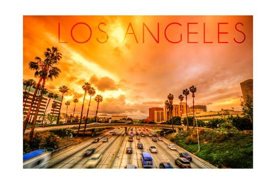 Los Angeles, California - Highway and Palms-Lantern Press-Art Print