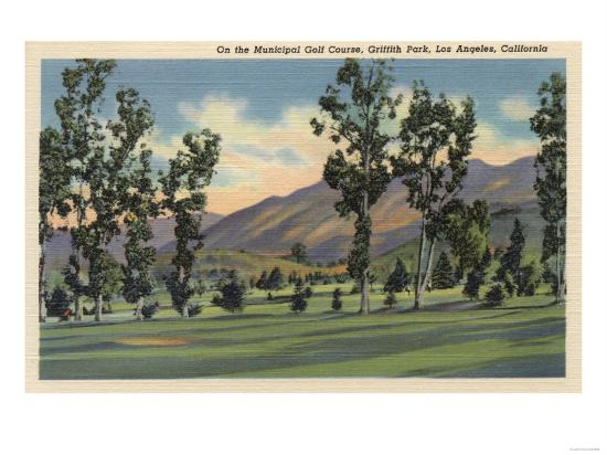 Los Angeles, California - Municipal Golf Course in Griffith Park-Lantern Press-Art Print
