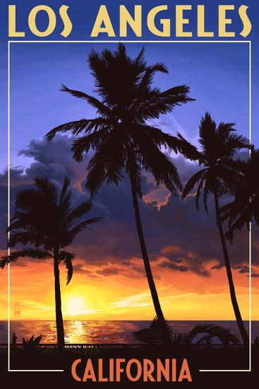 Los Angeles, California - Palms and Sunset-Lantern Press-Wall Mural