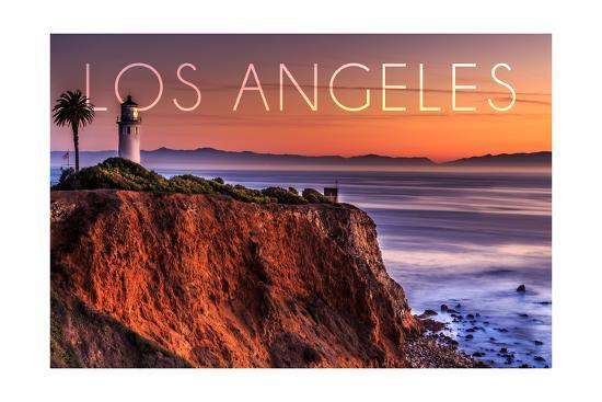 Los Angeles, California - Point Vincent Lighthouse and Sunset-Lantern Press-Art Print