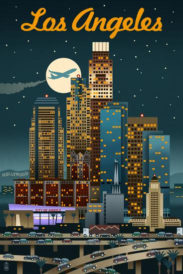 Los Angeles, California - Retro Skyline-Lantern Press-Art Print