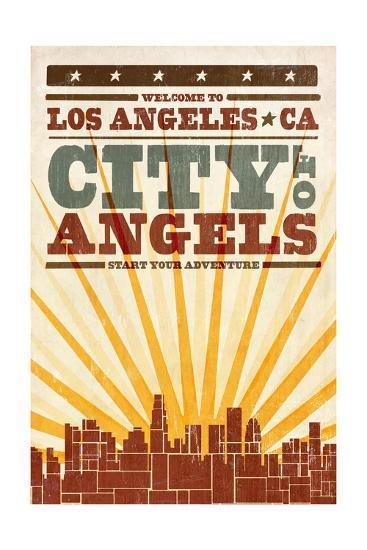 Los Angeles, California - Skyline and Sunburst Screenprint Style-Lantern Press-Art Print