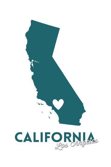 Los Angeles, California - State Outline and Heart (Dark Blue)-Lantern Press-Art Print
