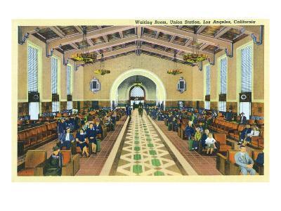 Los Angeles, California - Union Station Interior View of Waiting Room-Lantern Press-Art Print