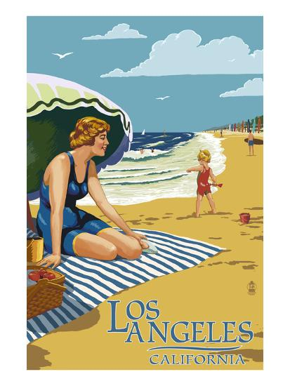 Los Angeles, California - Woman on the Beach-Lantern Press-Art Print