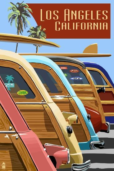 Los Angeles, California - Woodies Lined Up-Lantern Press-Art Print