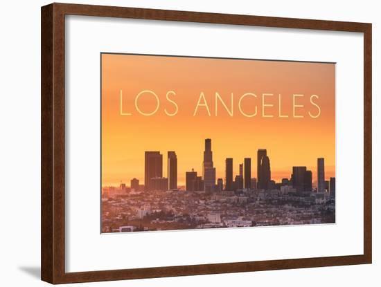Los Angeles, California - Yellow Skyline-Lantern Press-Framed Art Print