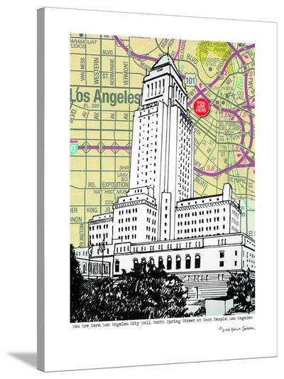 Los Angeles City Hall--Stretched Canvas Print