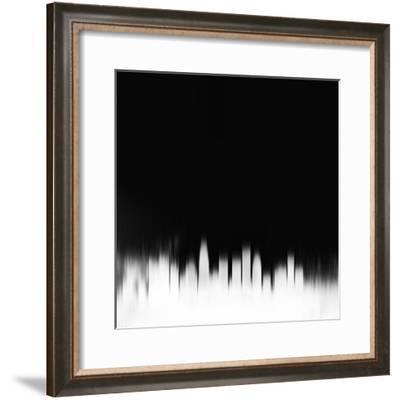 Los Angeles City Skyline - White-NaxArt-Framed Art Print