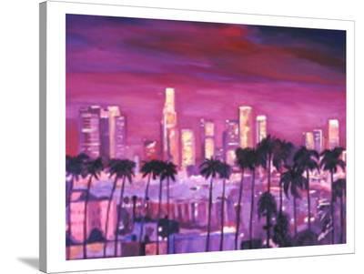 Los Angeles Golden Skyline l-M Bleichner-Stretched Canvas Print