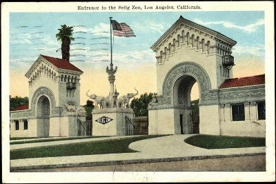 Los Angeles Kalifornien, Entrance to the Selig Zoo--Giclee Print