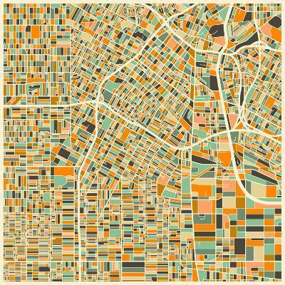 Los Angeles Map-Jazzberry Blue-Art Print