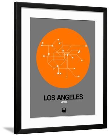 Los Angeles Orange Subway Map-NaxArt-Framed Art Print