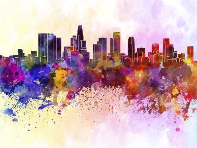Los Angeles Skyline in Watercolor Background-paulrommer-Art Print
