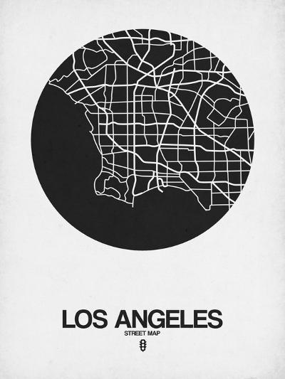 Los Angeles Street Map Black on White-NaxArt-Art Print