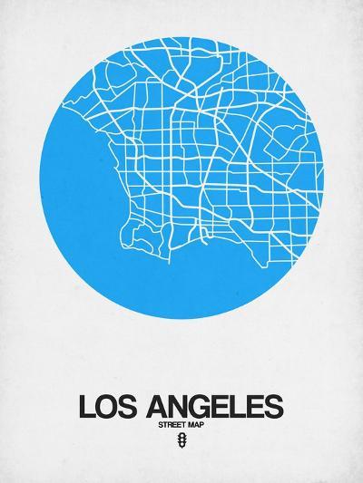 Los Angeles Street Map Blue-NaxArt-Art Print