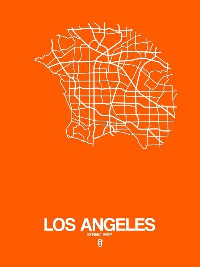 Los Angeles Street Map Orange-NaxArt-Art Print