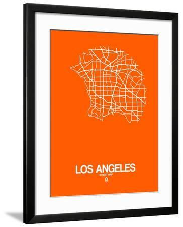 Los Angeles Street Map Orange-NaxArt-Framed Art Print