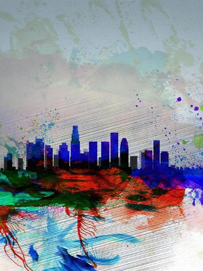 Los Angeles Watercolor Skyline 1-NaxArt-Art Print