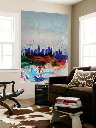 Los Angeles Watercolor Skyline 1-NaxArt-Wall Mural