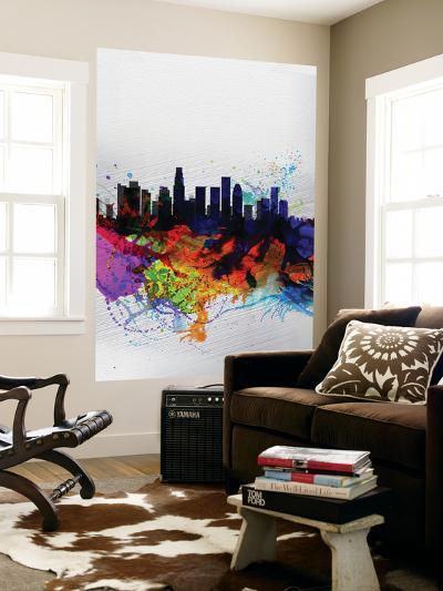 Los Angeles Watercolor Skyline 2-NaxArt-Wall Mural