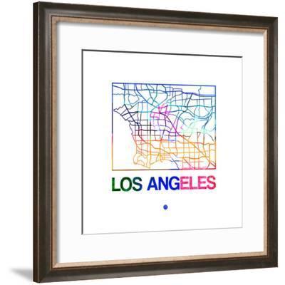 Los Angeles Watercolor Street Map-NaxArt-Framed Premium Giclee Print
