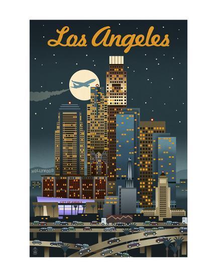 Los Angeles-Lantern Press-Art Print