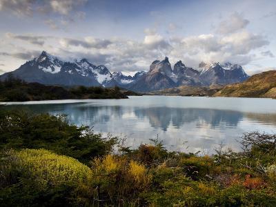 Los Cuernos Del Paine Seen across Lake Pehoe-Alex Saberi-Photographic Print
