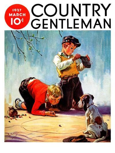 """Lost All His Marbles,"" Country Gentleman Cover, March 1, 1937-Henry Hintermeister-Giclee Print"