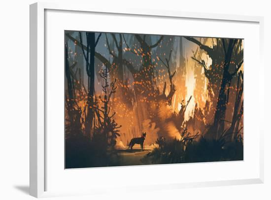 Lost Dog in the Forest with Mystic Light,Illustration Painting-Tithi Luadthong-Framed Art Print