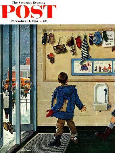 """Lost His Mitten"" Saturday Evening Post Cover, December 14, 1957-Ben Kimberly Prins-Giclee Print"