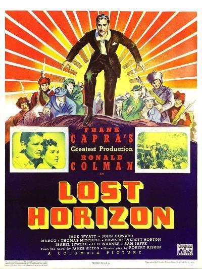 LOST HORIZON, top center: Ronald Colman, bottom left: Ronald Colman on window card, 1937.--Art Print