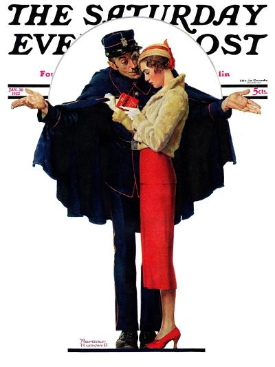 """""""Lost in Paris"""" or """"Boulevard Haussmann"""" Saturday Evening Post Cover, January 30,1932-Norman Rockwell-Giclee Print"""