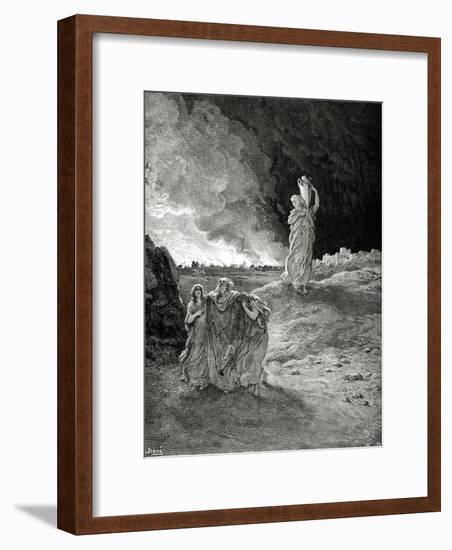 Lot. Book of Genesis, Bible. Episode of Destrucction of Sodom and Gomorrah. Lot Flees from Sodom.-Gustave Dore-Framed Giclee Print