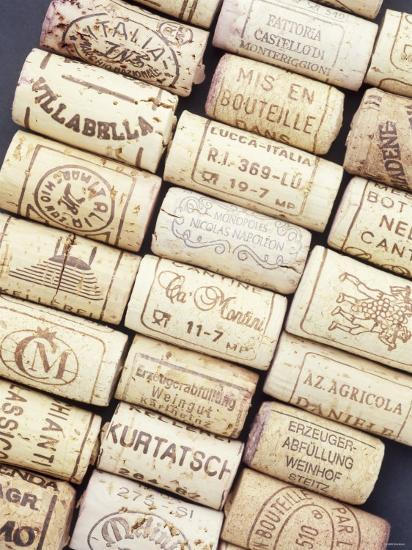 Lots of Different Wine Corks Lying Side by Side--Photographic Print