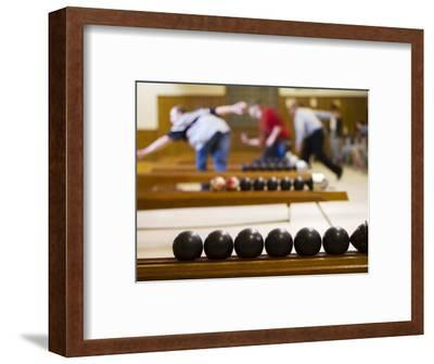 Candlepin Bowling Balls and Bowlers in Action at Sacco's Bowl Haven