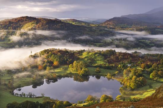 Loughrigg Tarn Surrounded by Misty Autumnal Countryside, Lake District, Cumbria-Adam Burton-Photographic Print