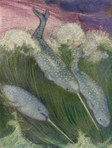 Narwhals Swimming by Louis A^ Sargent