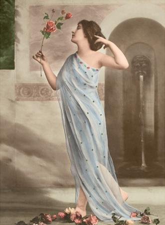 Red Rose Beauty - Classic Vintage French Nude - Hand-Colored Tinted Art