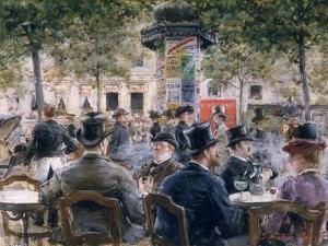 Cafe Scene in Paris, 1884 by Louis Anet Sabatier