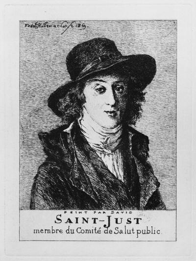 Louis Antoine Leon De Saint-Just, Engraved by Frederic Desire Hillemacher (1811-86) 1869-Jacques-Louis David-Giclee Print