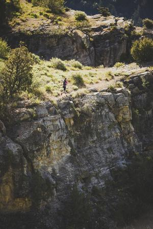 A Woman Running On The Wind Caves Trail, Logan Canyon, Utah