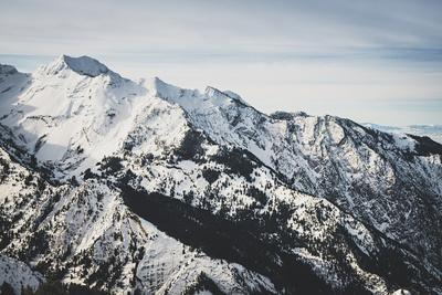 Twin Peaks Sits Above Storm Mountain, Winter In The Wasatch Mountains, Utah